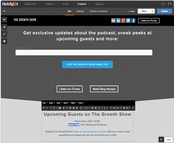 HubSpot's website tool
