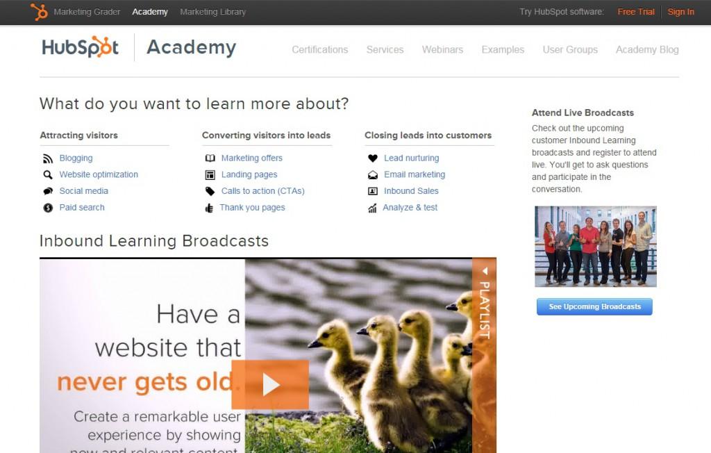HubSpot Academy website