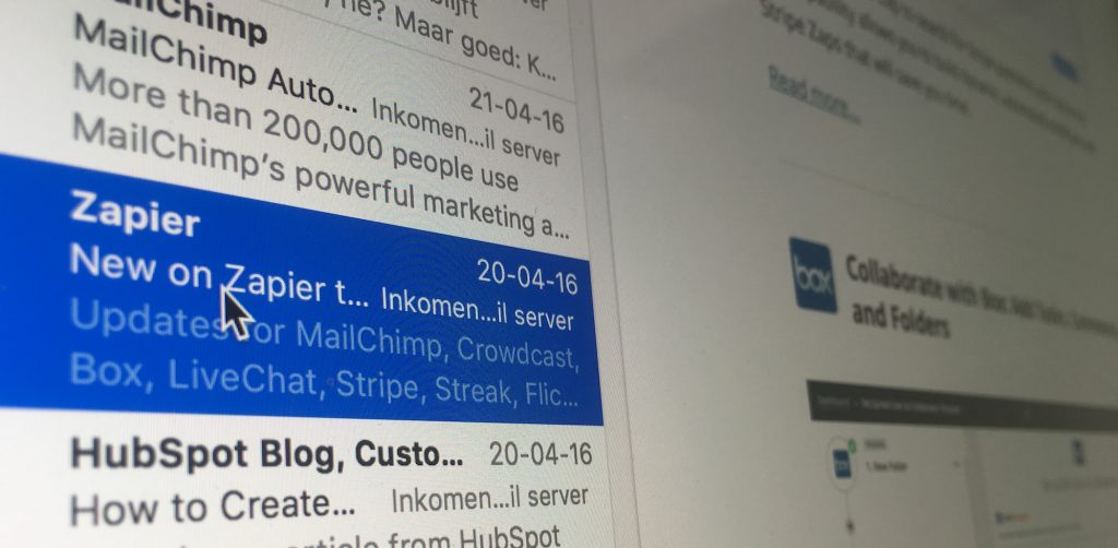 E-mailmarketing Zapier in een inbox