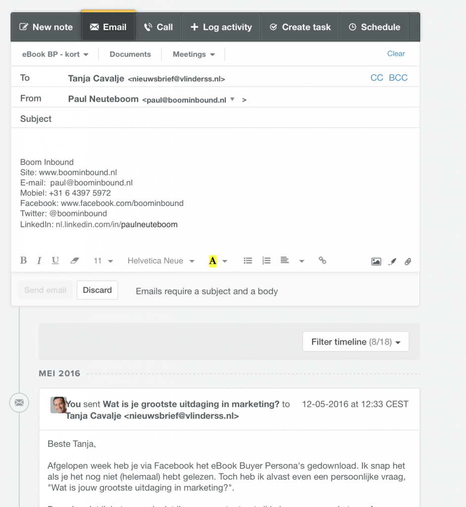 E-mail versturen in HubSpot CRM