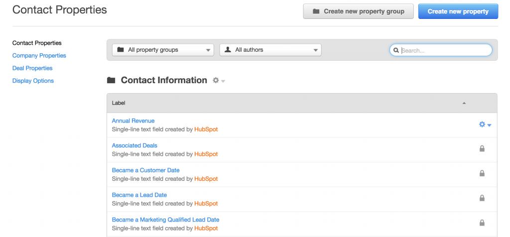 Eigenschappen van contacten in HubSpot CRM