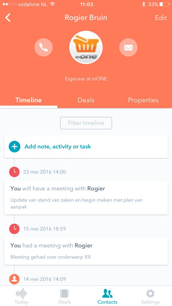 iOS app van HubSpot CRM